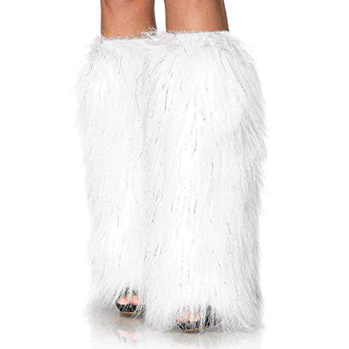 ( Leg Avenue Faux Fur Lorax Legwarmers for Women, White/Silver, One)