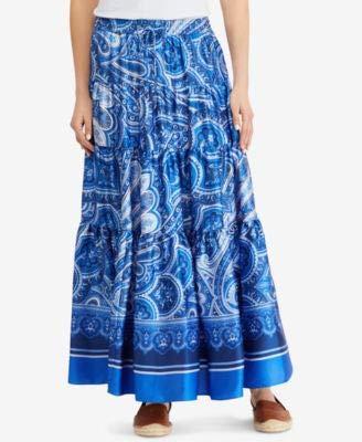 LAUREN RALPH LAUREN Womens Oretha Paisley Tiered Peasant, Boho Skirt Blue -