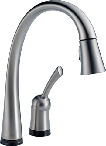 Delta Faucet 980T-AR-DST Pilar, Single Handle Pull-Down Kitchen Faucet with Touch2O Technology, Arctic - Deck Mounted Electronic Faucet