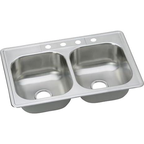 Elkay dse23322 dayton 33 double basin drop in stainless steel elkay dse23322 dayton 33quot double basin drop in stainless steel kitchen sink 1 faucet workwithnaturefo