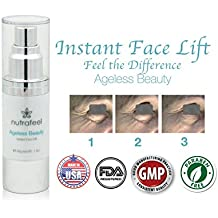 Instant FaceLift Serum by Ageless Beauty | HYALURONIC Acid | ARGIRELINE | ACAI Fruit | Matrixyl 3000 - Drastically Reduces Eye Bags, Wrinkles, Lines and Puffiness INSTANTLY! - Best Value! (30mL)