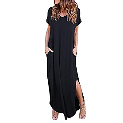 La sophia Women Summer Solid Cotton V Neck Short Sleeve Split Irregular Long Maxi Dresses