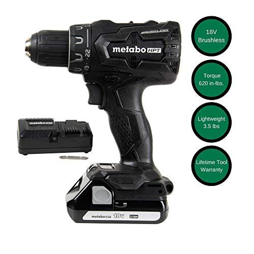 Metabo HPT 18V Cordless Driver Drill, 1.5 Ah Lithium Ion Battery, LED Light, Brushless, Lifetime Tool Warranty, Black Design (DS18DBFL2QB)