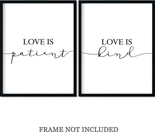 Love is patient, Love is Kind Wall Art Print Decor - Set of 2-11x14 unframed ()
