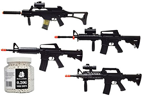 A&N Airsoft Gun Bundle Collection Of Airsoft Guns Pack of 5 - Fully Auto Powerfull Airsoft Electric Rifles, Spring Rifles and 5000 BBs by A&N