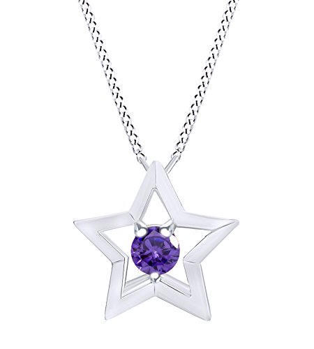 Wishrocks Simulated Amethyst Star Pendant Necklace 14K White Gold Over Sterling Silver ()