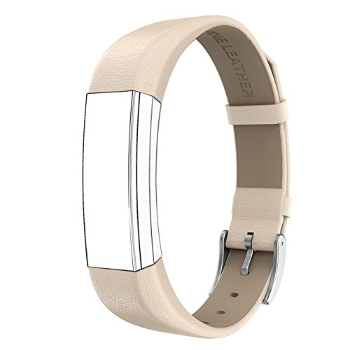Fitbit Alta HR and Alta Bands Leather, Swees Genuine Leather Band With Buckle Replacement Wristband Small & Large for Fitbit Alta HR and Alta, Gold