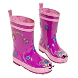 Kidorable Purple Butterfly Natural Rubber Rain Boots w/Pull On Heel Tab
