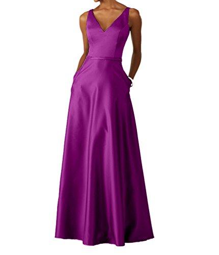 Ballkleider La Braut Tanzenkleider Abendkleider Satin Langes Ausschnitt Neu Festlichkleider Pink mia V Fuchsia 8rq58