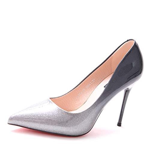 HOESCZS Brand 2019 Herbst und Winter Neue Farbverlauf Pailletten Farbabstimmung Spitze High Heels Temperament fein mit einzelnen Schuhen Frauen