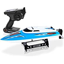 SereneLife Wireless 2.4 ghz Remote Control RC Speed Boat Toy with 74W21,000RPM Motor speed, Alarm & Cooling System, Rechargeable Battery & USB Charger, Plus storage stand - For outdoor pool - SLRBT20