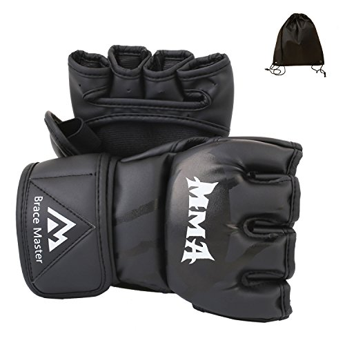 MMA UFC Gloves Pair Medium Large for Men Women Grappling Protection, Black Leather Fingerless Sparring Gloves for Training, Fighting, Muay Thai, Boxing, Punching bag, Mixed Martial Arts