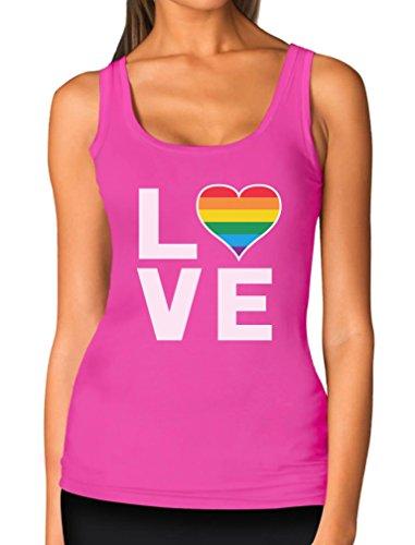 Gay Love - Rainbow Heart Gay Pride Awareness Women Tank Top X-Large Pink