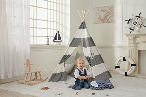 Dako Living Kids Teepee Gray, 100% Natural Cotton Canvas Teepee Tent for Kids, Comes with Carrying Bag and Floor (Hideaway Mat)