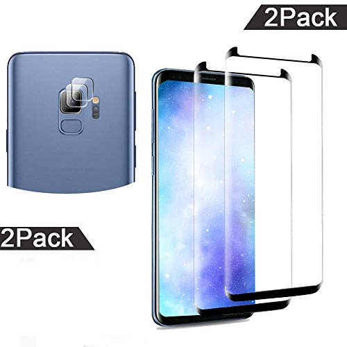Glass Screen Protector for Galaxy S9 with Camera Lens Protector, Anti-Scratch, Bubble Free, 9H Hardness, Ultra Thin,Tempered Glass Screen Protector for Samsung Galaxy S9,[2 ()