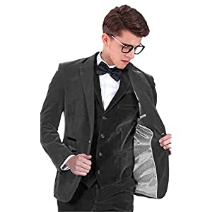 SETWELL Velvet Slim Fit Men Suit Groomsmen Tuxedos Wedding Prom Velour Mens Suits 3 Pieces