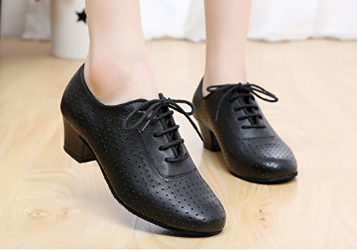 7010 Womens Leather Heel Block JJ Dance Beginner CFP Round shoes Practice Black Sneaker toe a5wqnf6