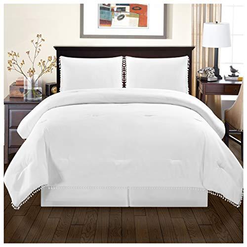 Superior Pom Gina Comforter Set with Pillow Shams, Luxury Pom-Pom Bedding with Soft Microfiber Shell, All Season Down Alternative Fill - King/California King, White