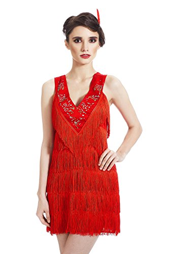 [Adult Women Flapper Halloween Costume 1920s Cabaret Singer Dress Up & Role Play (Standard)] (Chicago The Musical Costume Ideas)