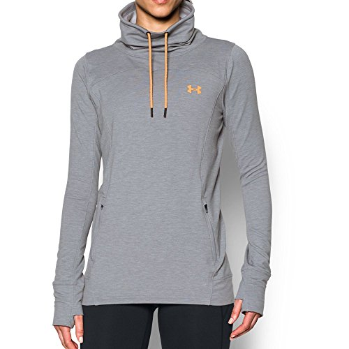 Womens Orange Hoody Sweatshirt (Under Armour Women's Featherweight Fleece Slouchy Popover, True Gray Heather/Orange Peel, X-Large)