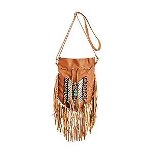 Beige Boho Bag | Real Leather | Fringe Purse | Bohemian Bags | Hobo Tote Handbag