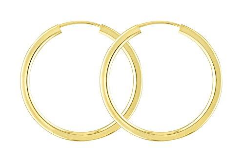 Boucles d'oreilles créoles or jaune 585/14K, diamètre extérieur 30mm, largeur 2,5mm, poids: env. 2.6g, produit neuf