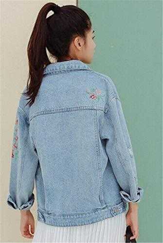 Lavato Lunga Stile Ricamo Casual Fiori Cappotto Fashion Blau Bavero Fidanzato Ragazza Chic Donna Giacca Eleganti Autunno Tendenza Manica Jeans Primaverile Outerwear X1zTaq