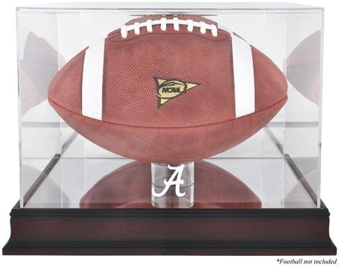 - Sports Memorabilia Alabama Crimson Tide Mahogany Base Football Display Case with Mirror Back - College Football Logo Display Cases
