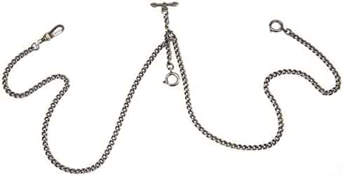 ManChDa Pocket Watch Double Albert Chain T-Bar Watch Chain Link 16 inch 3 hook Bronze Classic Antique