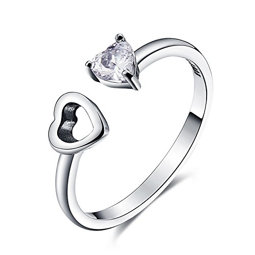 925 Sterling Silver Love Heart White Birthstone CZ Ring Expandable Open Rings Adjustable Women Jewelry