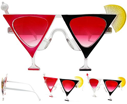 2 Pair Martini Drink Glass Novelty Birthday Party Glasses - Costume Dressup Sunglasses for Men or - Martini Sunglasses