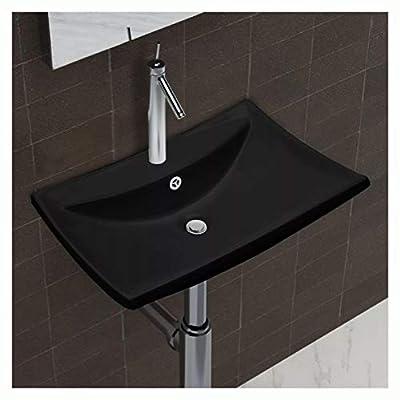 "HomyDelight Bathroom Sink, Ceramic Basin with Overflow & Faucet Hole 24""x17.3"" Black"