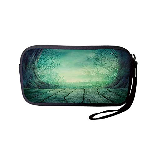 iPrint Neoprene Wristlet Wallet Bag,Coin Pouch,Gothic,Spooky Scary Dark Fog Forest with Dead Trees and Wooden Table Halloween Horror Theme Print,Blue,for Women and Kids -