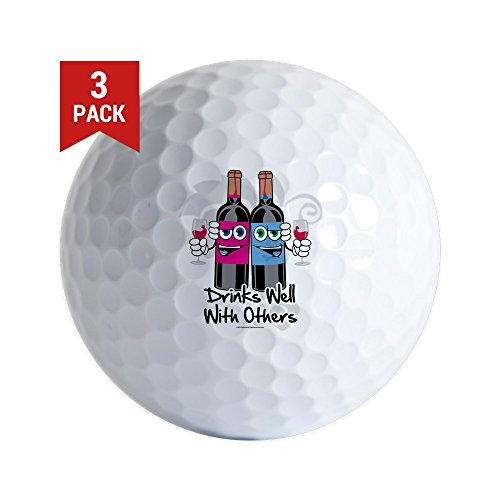 CafePress - Drinks-Well-With-Others - Golf Balls (3-Pack), Unique Printed Golf Balls Pinot Blanc Grapes