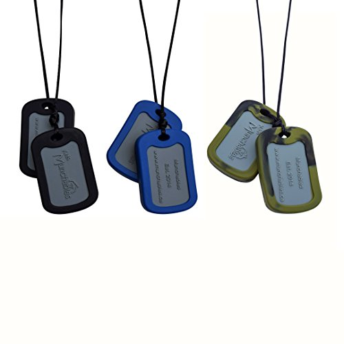 (Sensory Oral Motor Aide Chewelry Necklace - Chewy Jewelry for Sensory-Focused Kids with Autism or Special Needs - Calms Kids and Reduces Biting/Chewing - Set of 3 Military Dog Tags)