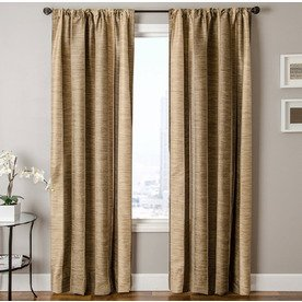 Allen Roth Ellesmere Striped Camel Rod Pocket Window Curt...