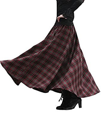 Femirah Women's Red Elastic Waist A Line Long Maxi Woolen Plaid Skirt