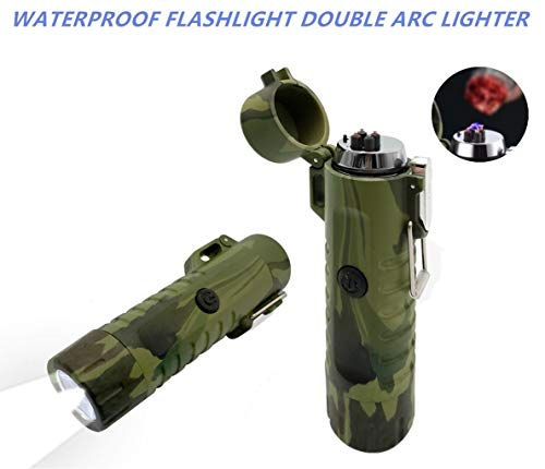 Outdoor Waterproof Lighter Double Arc Plasma Lighter with LED Bright Flashlight USB Rechargeable Lighter Windproof Flameless Lighter Prefect for Camping Hiking Travelling Fire Starter ()