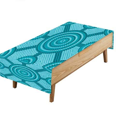 PINAFORE Indoor/Outdoor Polyester Tablecloth Teal Aboriginal Dot Painting Native Cultural Art in Australia Teal Wedding Decoration Table Cover Color W50 x L80 INCH -