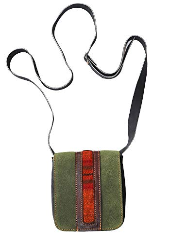 Raymis Handmade Green Leather Handbag with Peruvian Traditional Textiles of Alpaca Wool