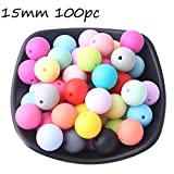 Baby Love Home Baby Teether 100pcs 15mm Silicone Teething Beads Mix Color Nursing Necklace Accessories Food Grade