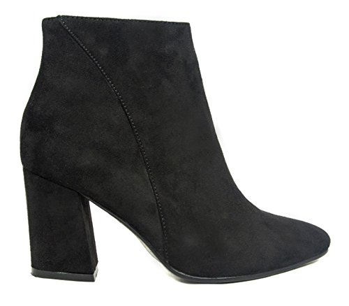 Heel Women's Ankle Chunky Stacked Toe Pointed Black Bootie BETANI CwqX66