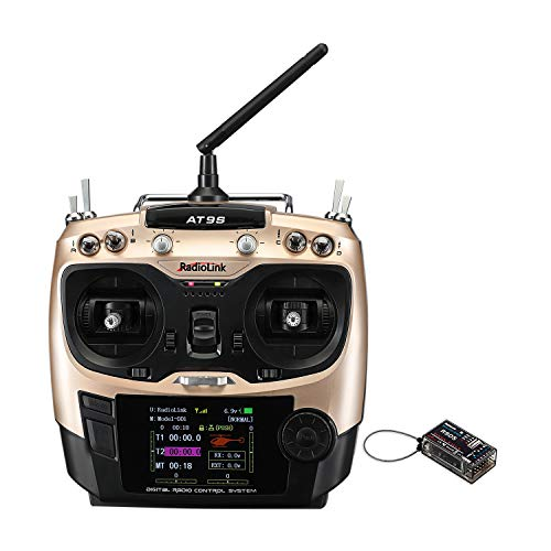 Kits Control Airplane Radio (Radiolink AT9S 10CH RC Transmitter and Receiver R9DS 2.4G FPV Radio Controller Kit for Racing Drone/Multicopter/Helicopter Airplane(Mode 2))