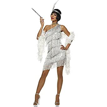 Dazzling Silver Flapper Adult Costume Clothing