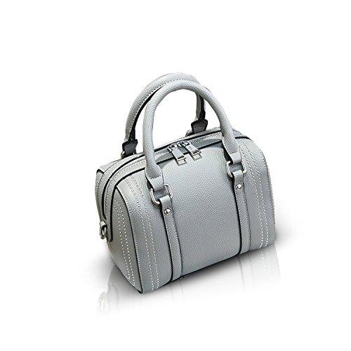 (NICOLE&DORIS Handbag Rivet Crossbody Totes Satchel Shoulder Boston Bag for Women Soft PU Gray)