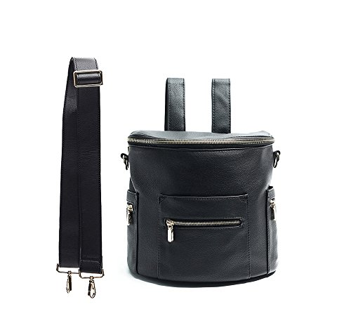 Women Ladies Small Backpack Rucksack Leather Backpack Pink Blush Kids Black by and Mini Pocket with Miss Handle Backpack Leather Fong Crossbody Insulated Strap wqYX7px