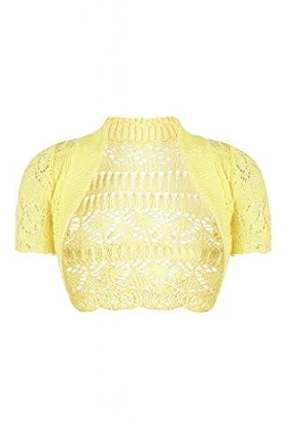 Forever Womens Short Sleeves Knitted Bolero Crochet Cardigan Shrug Top (SM = 6-8, Yellow) (Zj Sm)