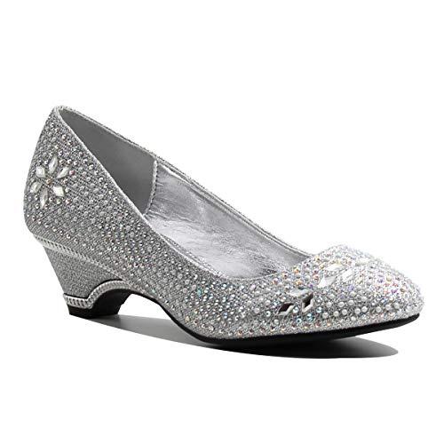 Stylish & Comfort Women's Round Toe Party/Performance Shoe Gem Rhinestone Chunky Mid-Height Heel Pumps (10, MA Silver)