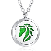 AZORA Aromatherapy Essential Oil Diffuser Necklace Stainless Steel Locket Pendant Jewelry for Women Girls Boys Kids