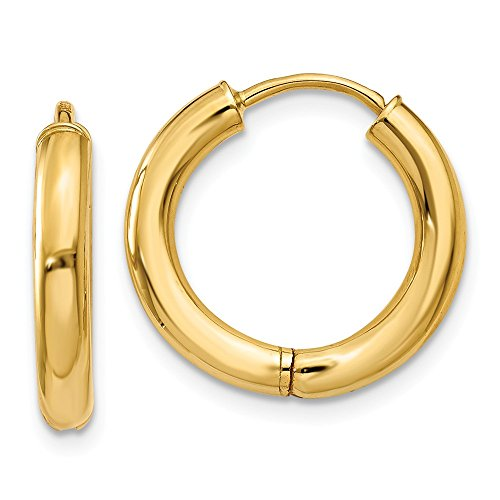 14K Yellow Gold Polished 15mm Hollow Hinged Hoop Earrings by Jewelry Pilot